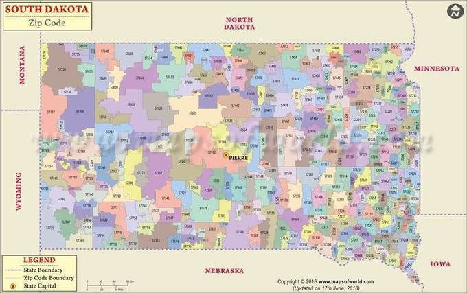 South Dakota Zip Code Map South Dakota Postal Code With Images