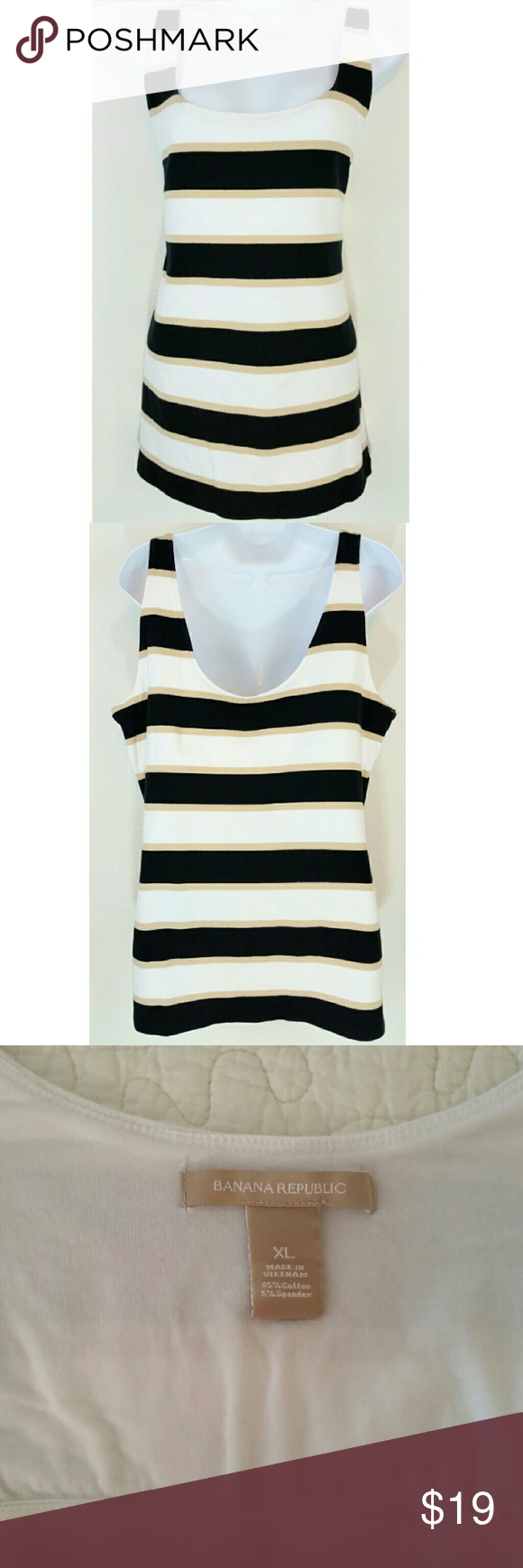 Banana Republic Color Block Striped Tank Top XL A cute nautical-look tank with attached bust support. Approximate measurements in inches taken laying flat & measuring from corner to corner then doubling to get full measurement around.  BUST: 38 WAIST: 34 LENGTH: 28 FABRIC: 95% cotton, 5% spandex Banana Republic Tops Tank Tops
