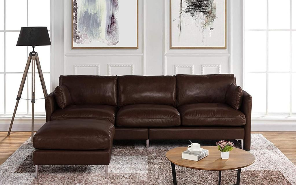 Modern Leather Sectional Sofa L Shape Couch 93 7 W Modern Leather Sectional Sofas Dark Brown Sofa Living Room Leather Sectional Sofa