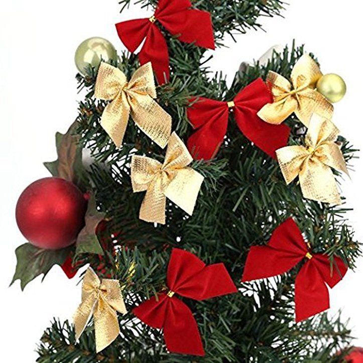 Schleifen Weihnachtsbaum.Lqz 12stk Schleife Weihnachtsbaum Schleifen Weihnachten Deko