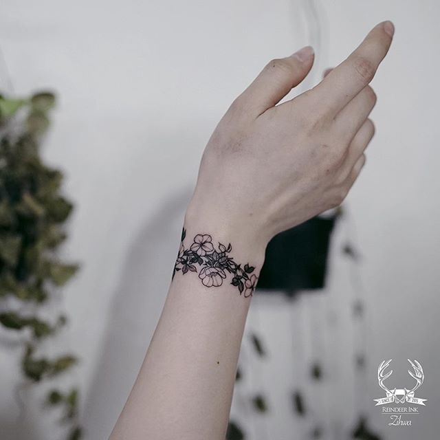 Flowers Band Meaningful Wrist Tattoos Simple Wrist Tattoos Wrist Tattoos For Women