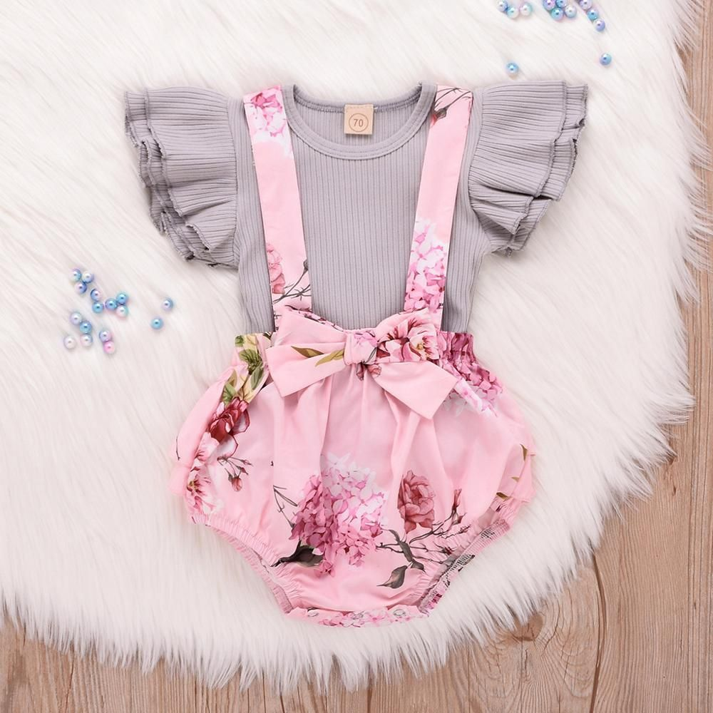 Baby Kids Girls Sister Matching Clothing Set Solid Color Ruffle Romper Onesie and Sleeveless Sweet Dress Skirt Outfits