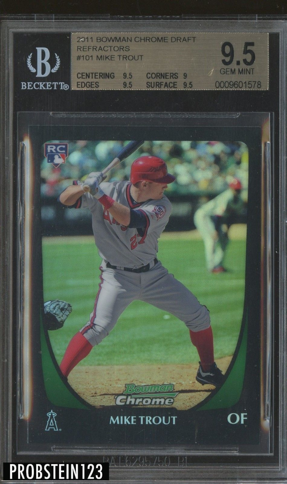 2011 bowman chrome refractor 101 mike trout angels rc