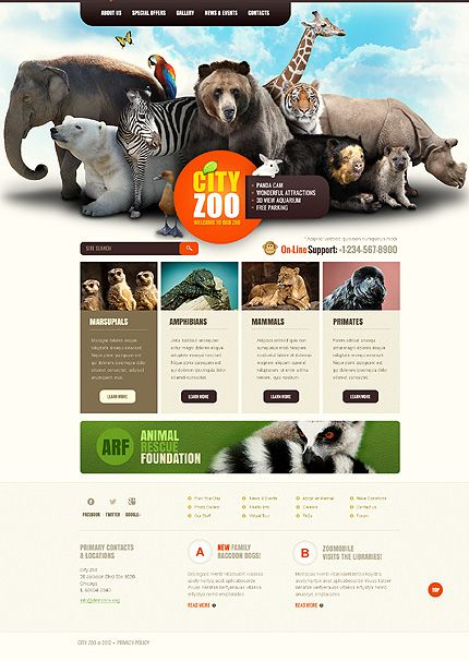 Zoo Joomla Template | Zoos, Web design layouts and Design layouts