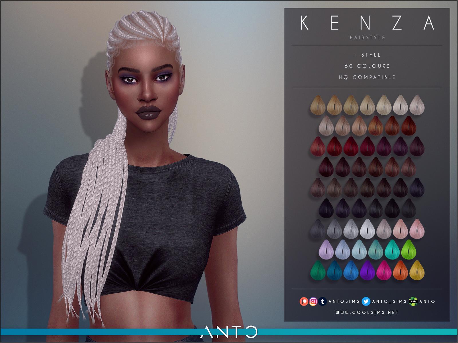 Kenza Hairstyle   ΛNTO on Patreon   Sims 15 black hair, Sims 15 ...