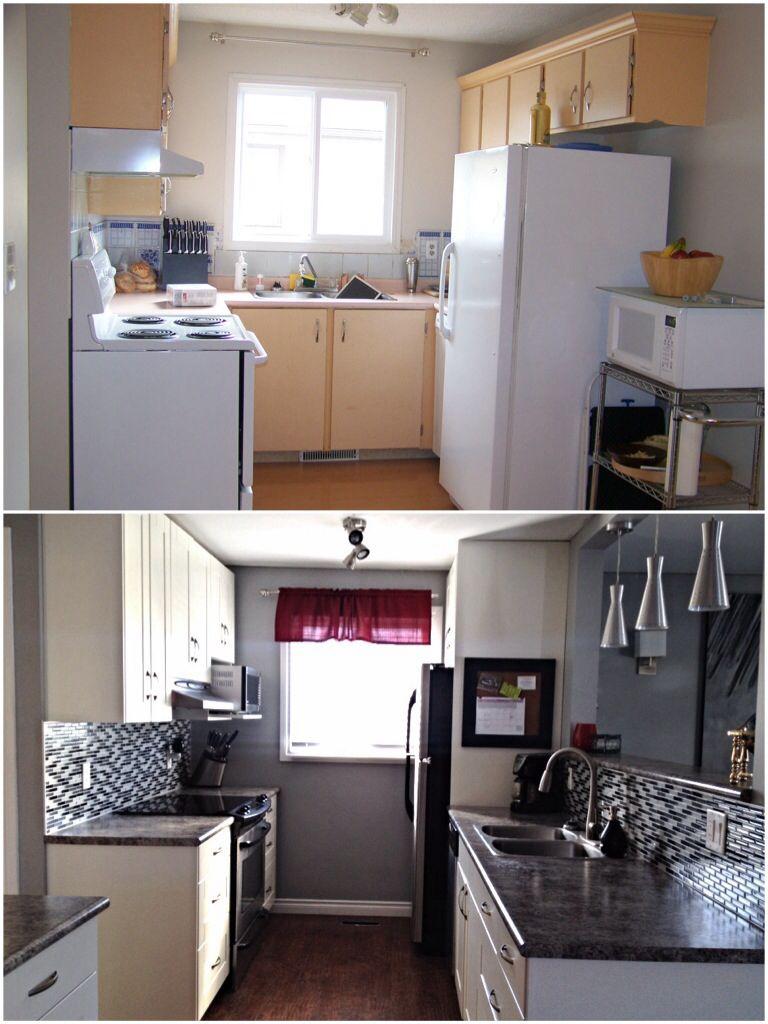 Kitchen makeover kitchen renovation galley kitchen white cabinets