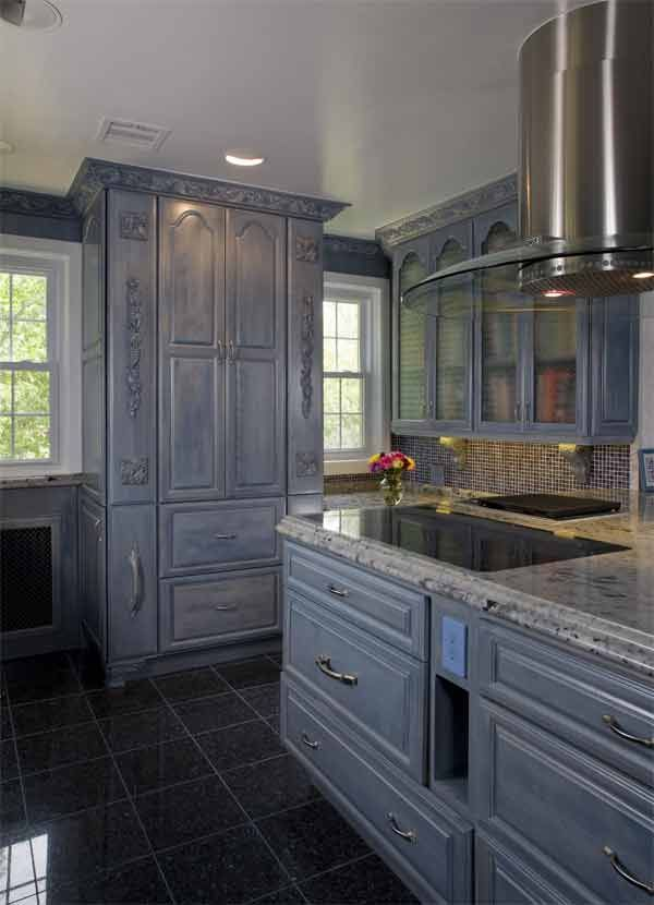 Grey Cabinets With Blue Pearl Tile Floor Designed