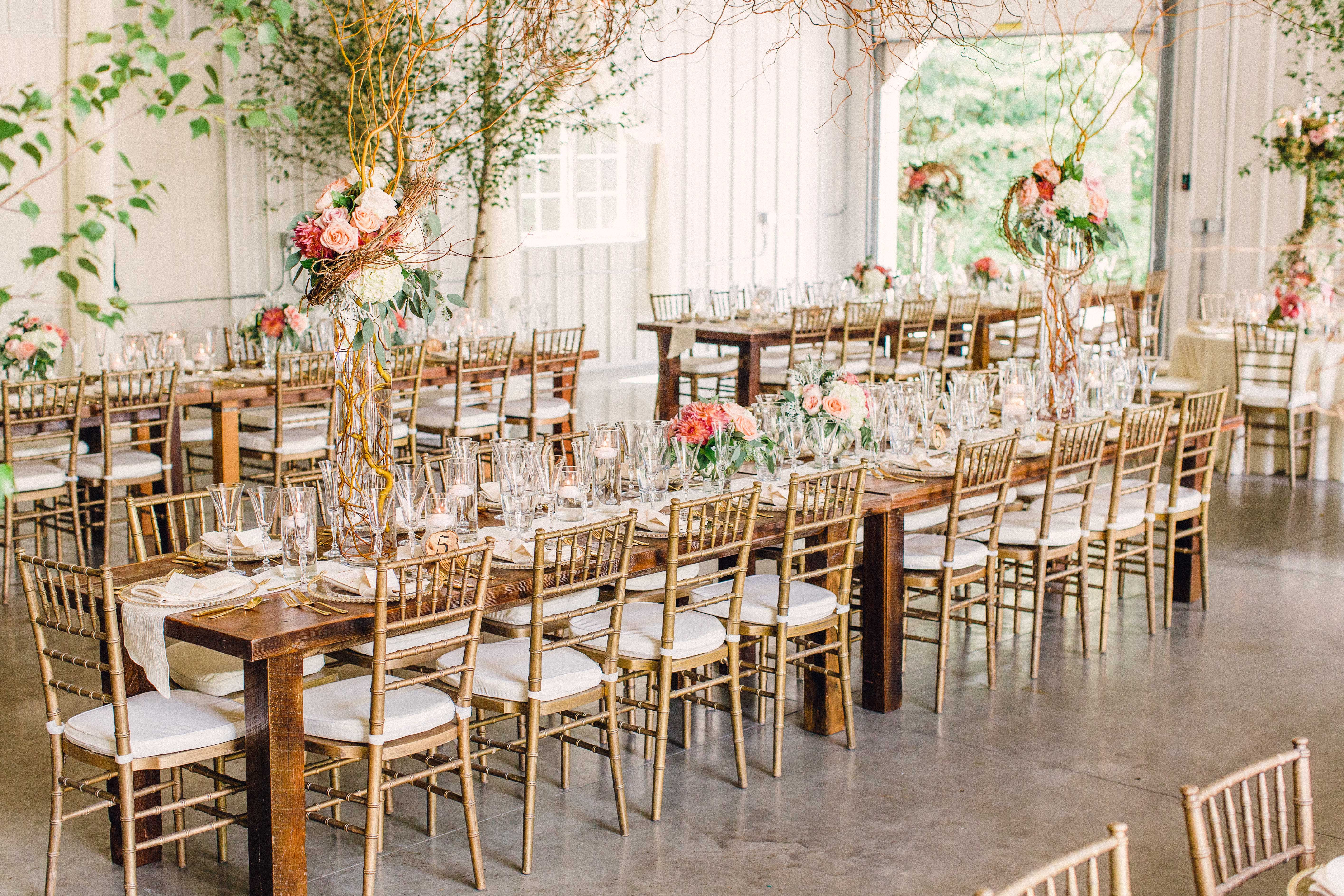 Gold Chiavari Chairs and Long Wood Dining Tables Gold