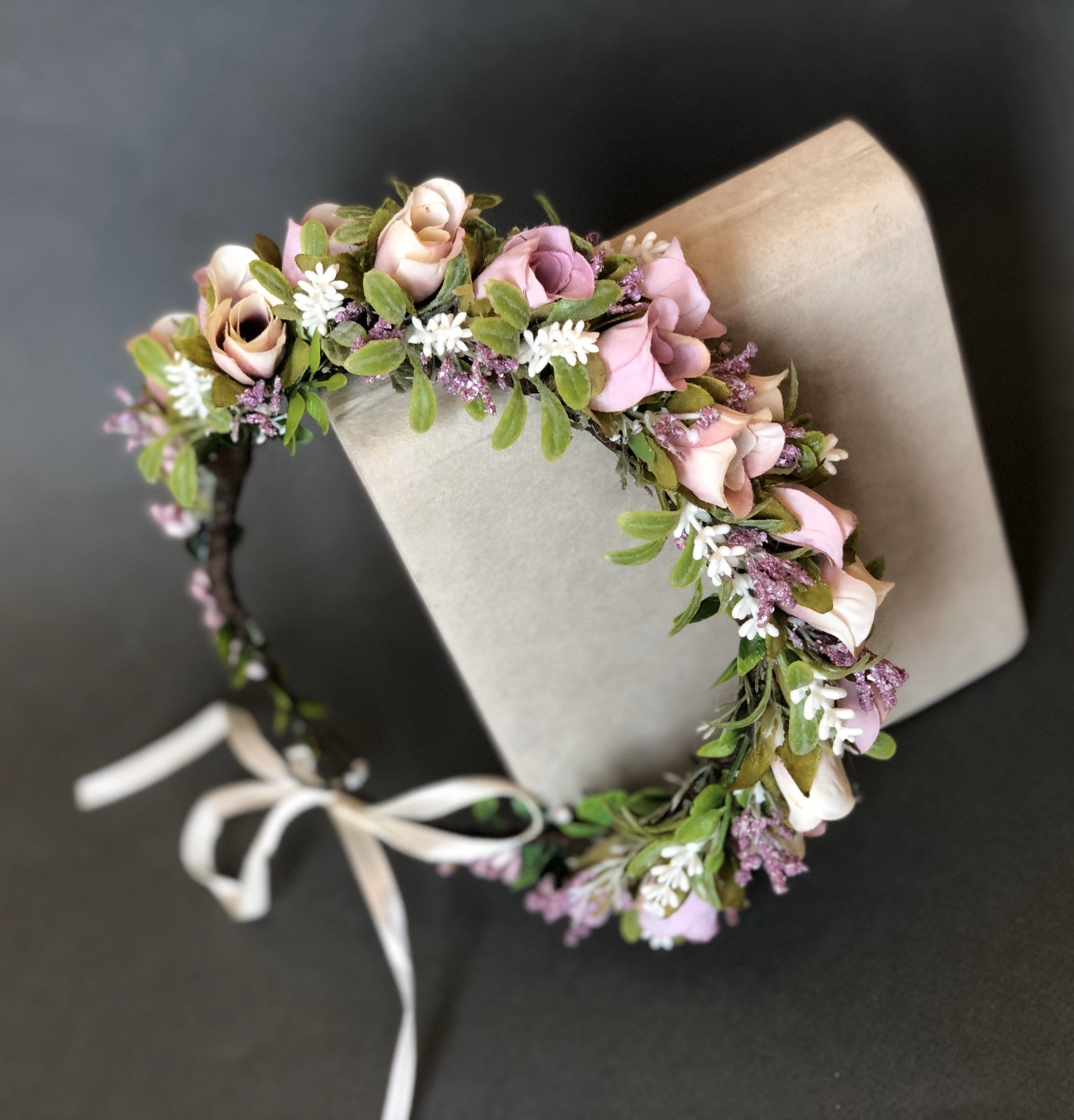 Purple peony flower crown first communion floral crown flower girl