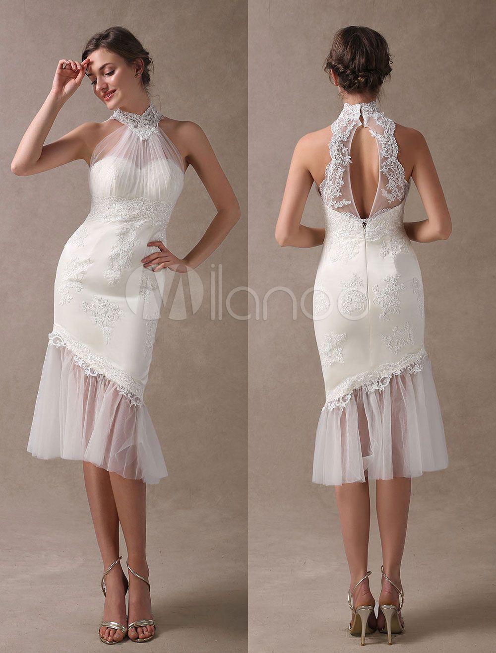 Beach wedding dresses short mermaid bridal dress halter open back
