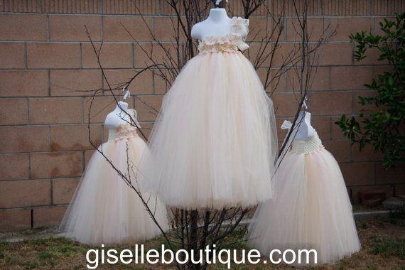 Flower Girl TuTu Dress.Ivory light Pink Beige by giselleboutique