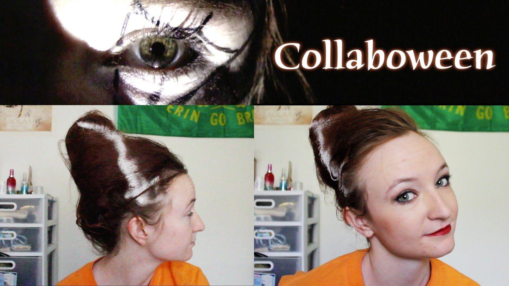 Collaboween bride of frankenstein beehive and vampy makeup