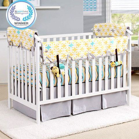 Lemon Zest Amp Links Organic Crib Rail Cover Gray Trim