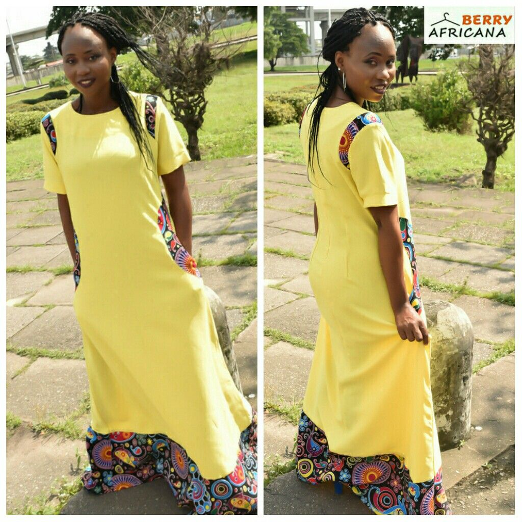 Yellow Crepe Fabric And Ankara Silk Mix Maxi Dress Follow Us At Berryafricana To Shop This Look Worldwidedelivery Crepe Fabric African Fashion Fashion