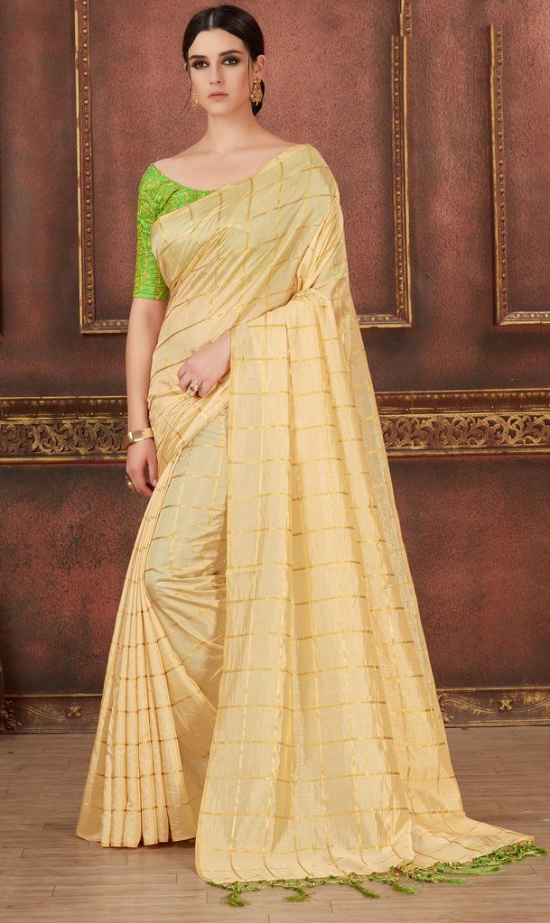 25271a067275e Cream Printed   Embroidered Silk Saree   Unstitched Blouse  sari  saree   casualsaree  casualstyle  printedsaree  embroideredsaree  traditional   indian ...