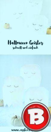Niedliche Halloween Geister aus Papiertüten - #aus #Geister #Halloween #niedliche #Papiertüten #geisterbasteln