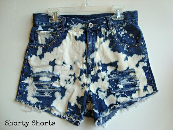 High Waisted Shorts Bleached Studded Ripped by shortyshorts