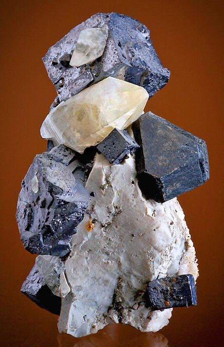Galena, Sphalerite, and Calcite on Chert matrix -- Lead-Zine Mines, Tri-State Mining District, Cherokee County, Kansas.