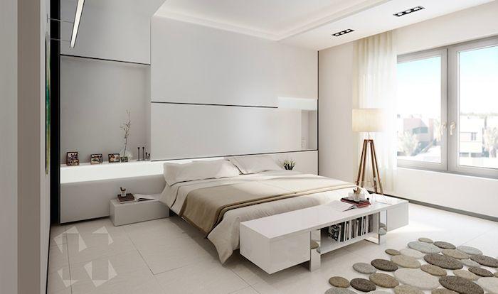 Pinterest Bedroom Tiled Floor White Walls Led Lights White Shelves And Night Stand Modern Bedroom Design Minimalist Bedroom Design Bedroom Design