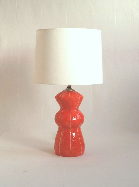 Ceramic lamp medium size table lamp home lighting pottery base simple style coral red and white stripes modern home and office decor