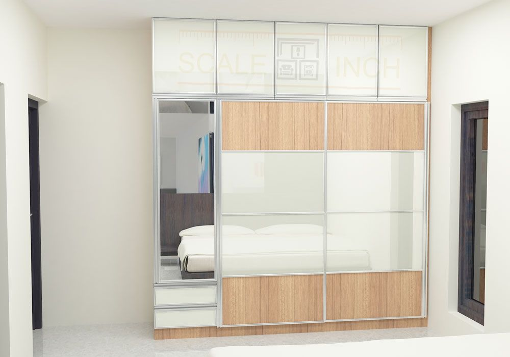 Modular Sliding door wardrobe  made up of plywood with