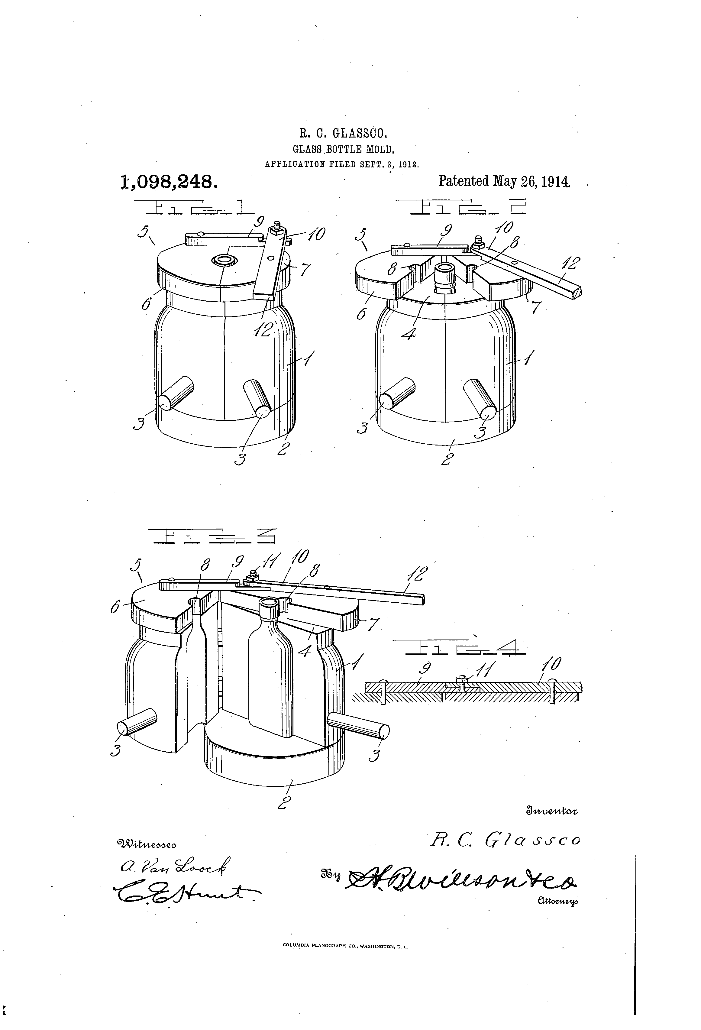 hight resolution of patent us1098248 glass bottle mold google patents