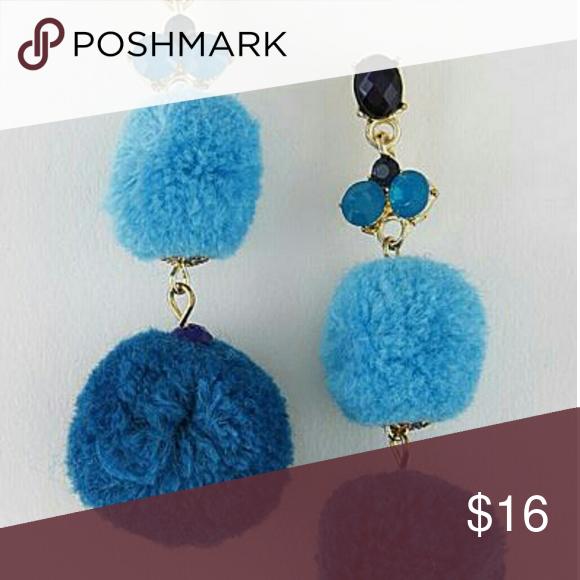 """Rossi pom pom earrings-blue Pom Pom Earrings * 1 X 3"""" approx. Daily Chic Jewelry Earrings"""
