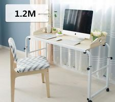 Adjustable Over Bed Computer Desk With Wheels Assembly Notebook