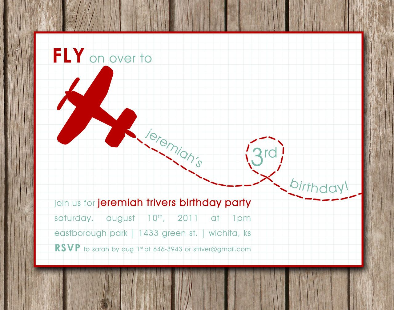 PRINTED Airplane Birthday Party Invitation - perfect for an aviation ...