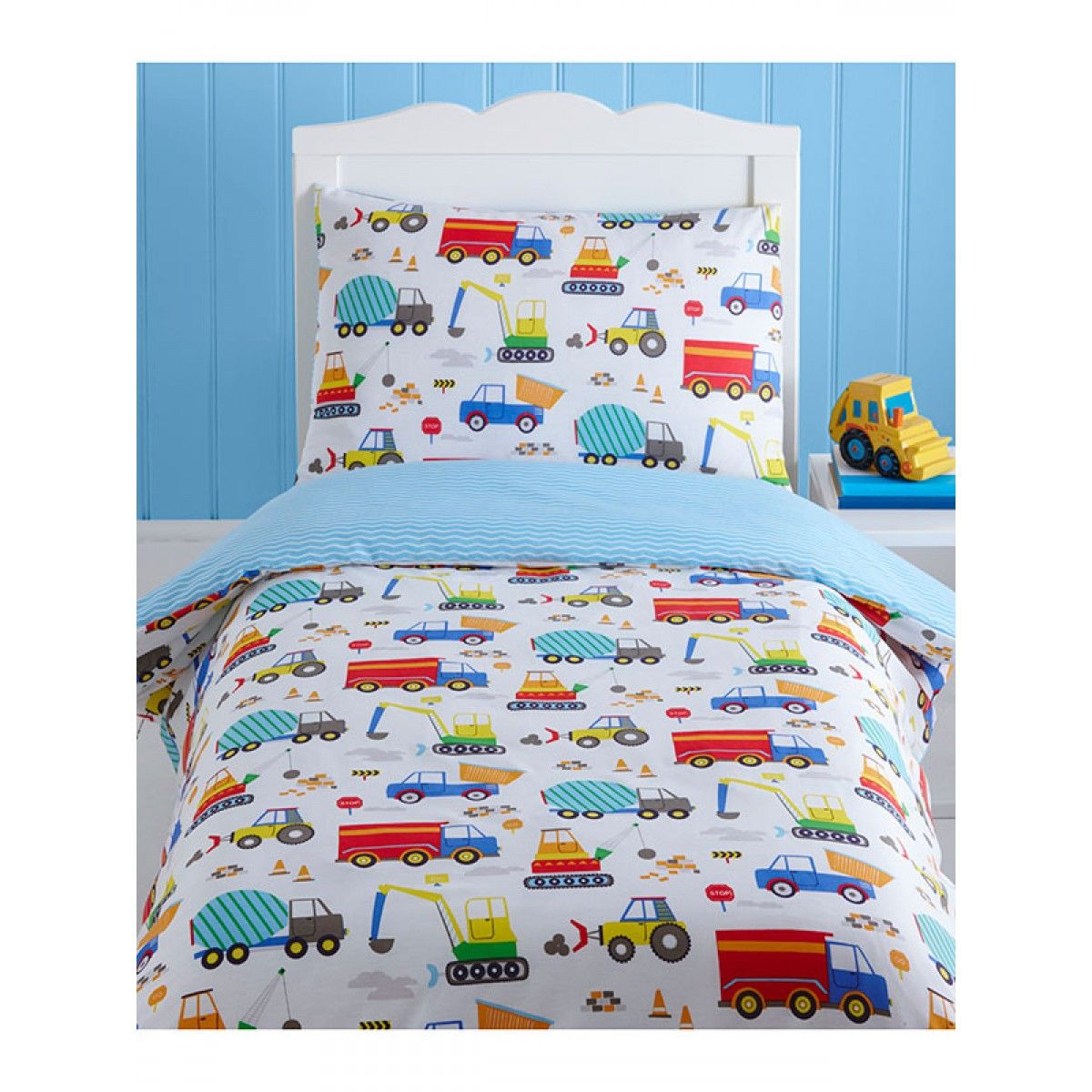 Bright Trucks Junior Toddler Duvet Cover & Pillowcase Set