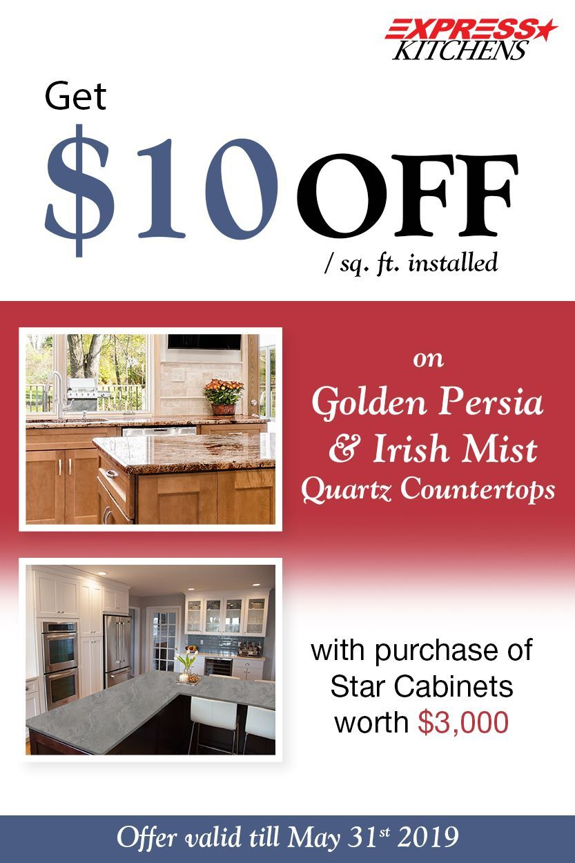 Get 10 Off Sq Ft Installed On Quartz Countertop Golden Persia And Irish Mist With Every 3000 Purchase Of Sta Countertops Quartz Countertops House Design