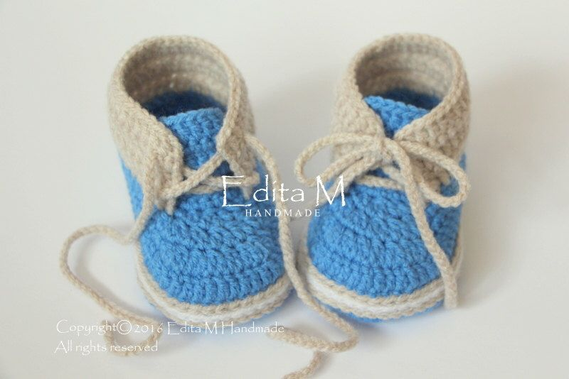 Blue /& White Crochet baby handmade knitting booties for baby boys 3-6 Months