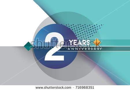 nd years anniversary logo vector design birthday celebration with colorful geometric circles isolated on white background also rh pinterest