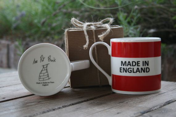 Made In England Hoop Mug by ThePotBank on Etsy, £12.95