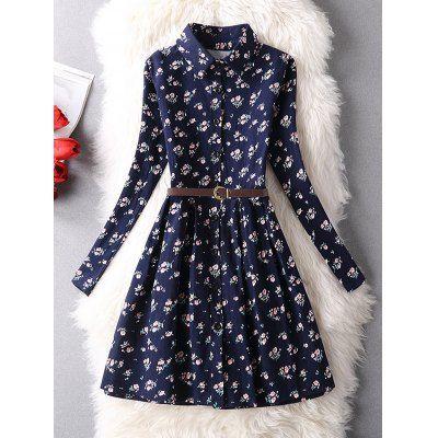 camisa vestido, Minúsculo vestido floral shirt Vintage