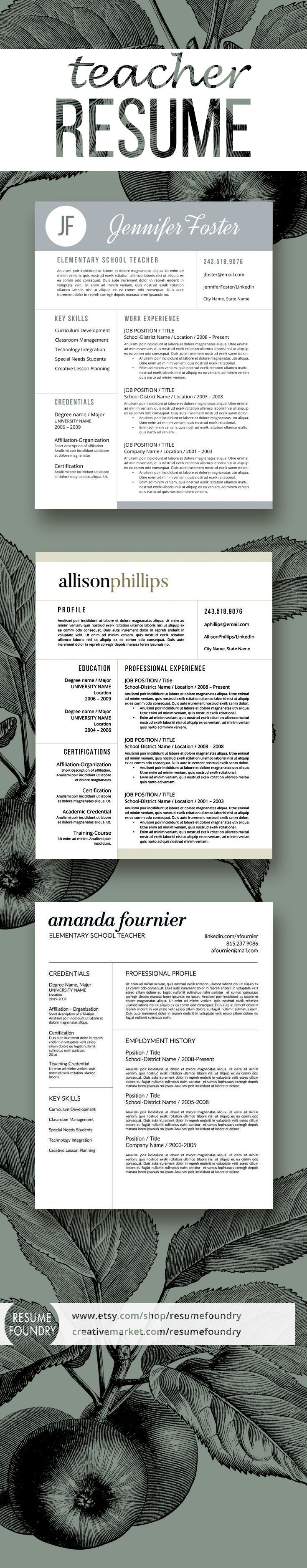 Selection of great teacher resumes, simple, clean, easy to use ...