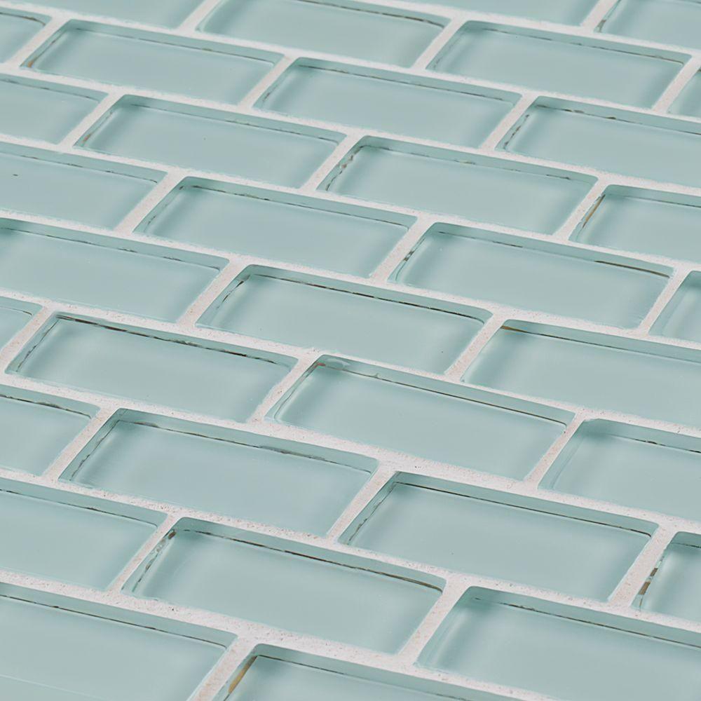 Jeffrey Court Glacier Ice Brick 12 in. x 12 in. x 8 mm Glass Mosaic ...