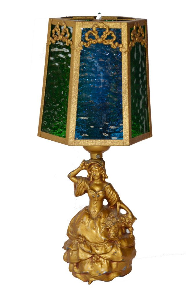 Pair French Figural Glass Shade Lamps Incredible-