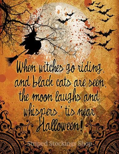 DOWNLOAD Halloween Witch Poem Digital Collage Graphic Image Greeting Card  Invitation Printable Quote Saying