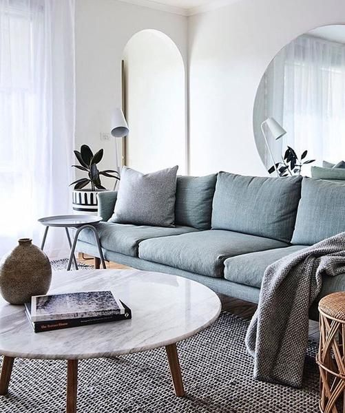 8 Clever Small Living Room Ideas With Scandi Style: Scandi Low Round Marble Coffee Table In 2019