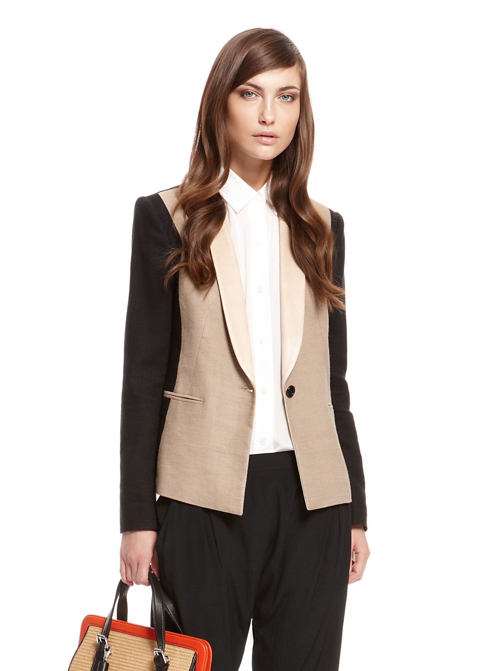 DKNY Runway Stretch Linen Texture Color Blocked Jacket With Leather Shawl Collar