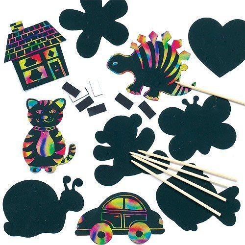 Lot de 10 Décorations Aimantées à gratter - Scratch Art avec différent designs - Outil de grattage fourni
