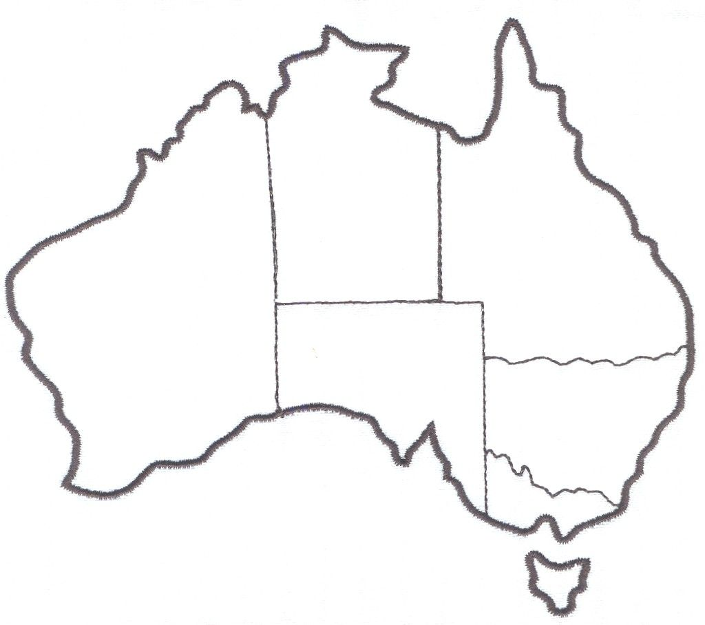 Line Drawing Map Of Australia : Australia map for labeling states territories and