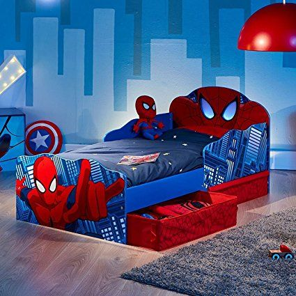 spiderman kleinkind bett mit rausfallschutz schublade als. Black Bedroom Furniture Sets. Home Design Ideas