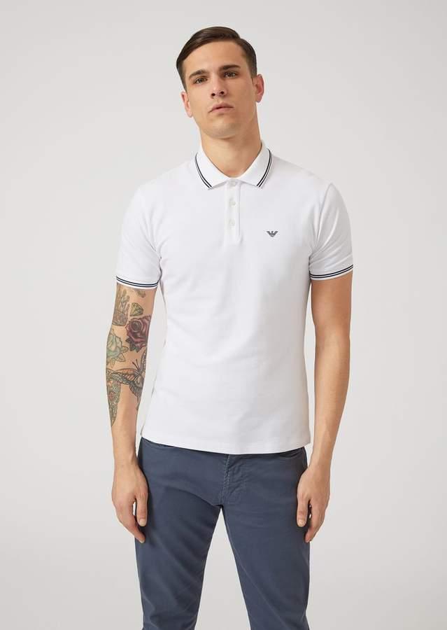 5582dd0e18 Emporio Armani Cotton Pique Polo Shirt With Contrast Logo Detail On ...