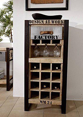 Botellero hierro madera maciza de madera mango macizo - Diseno de muebles de madera ...