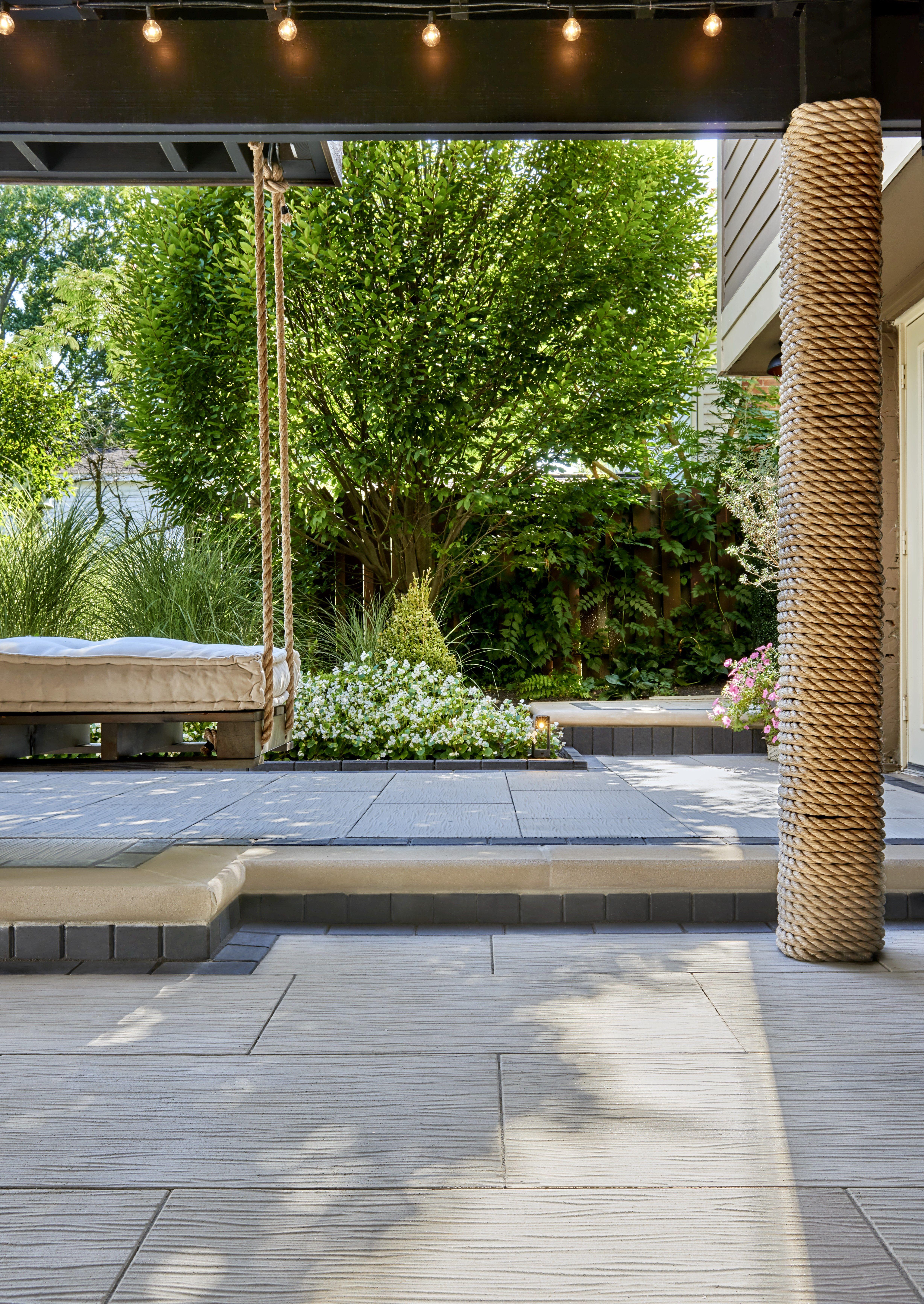 This Backyard Patio Design Is Inspired By Our Ocean Grande Patio Slab The Ocean Grande Provides An Extremely In 2020 Backyard Patio Designs Backyard Patio Patio Slabs