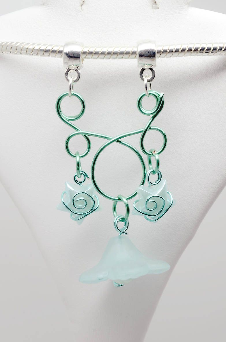 Anemone - artistic wire pendant, silver plated wire with glass and ...