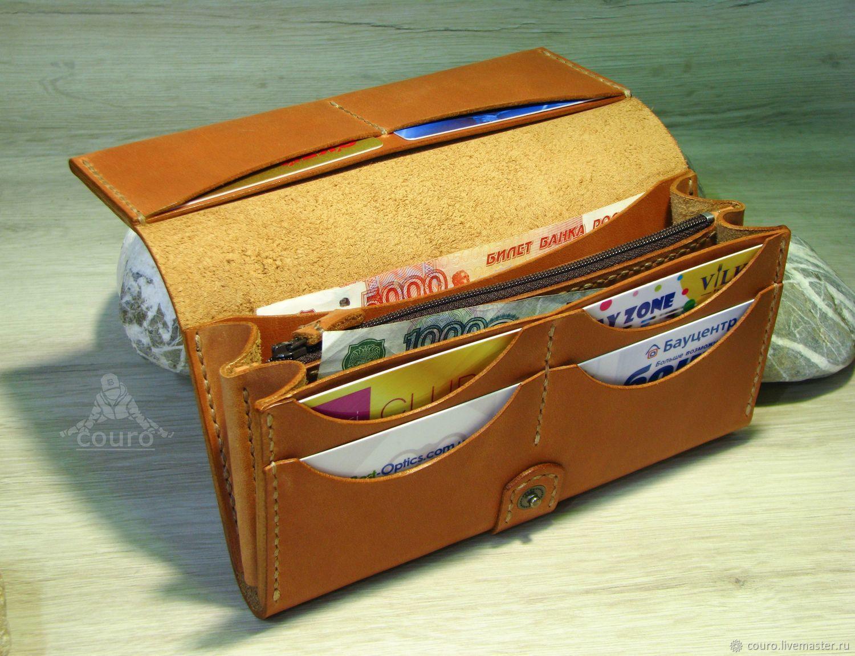 436193ac2439 Кошельки и визитницы ручной работы. Женский кошелек из натуральной кожи с  ремешком. Изделия из