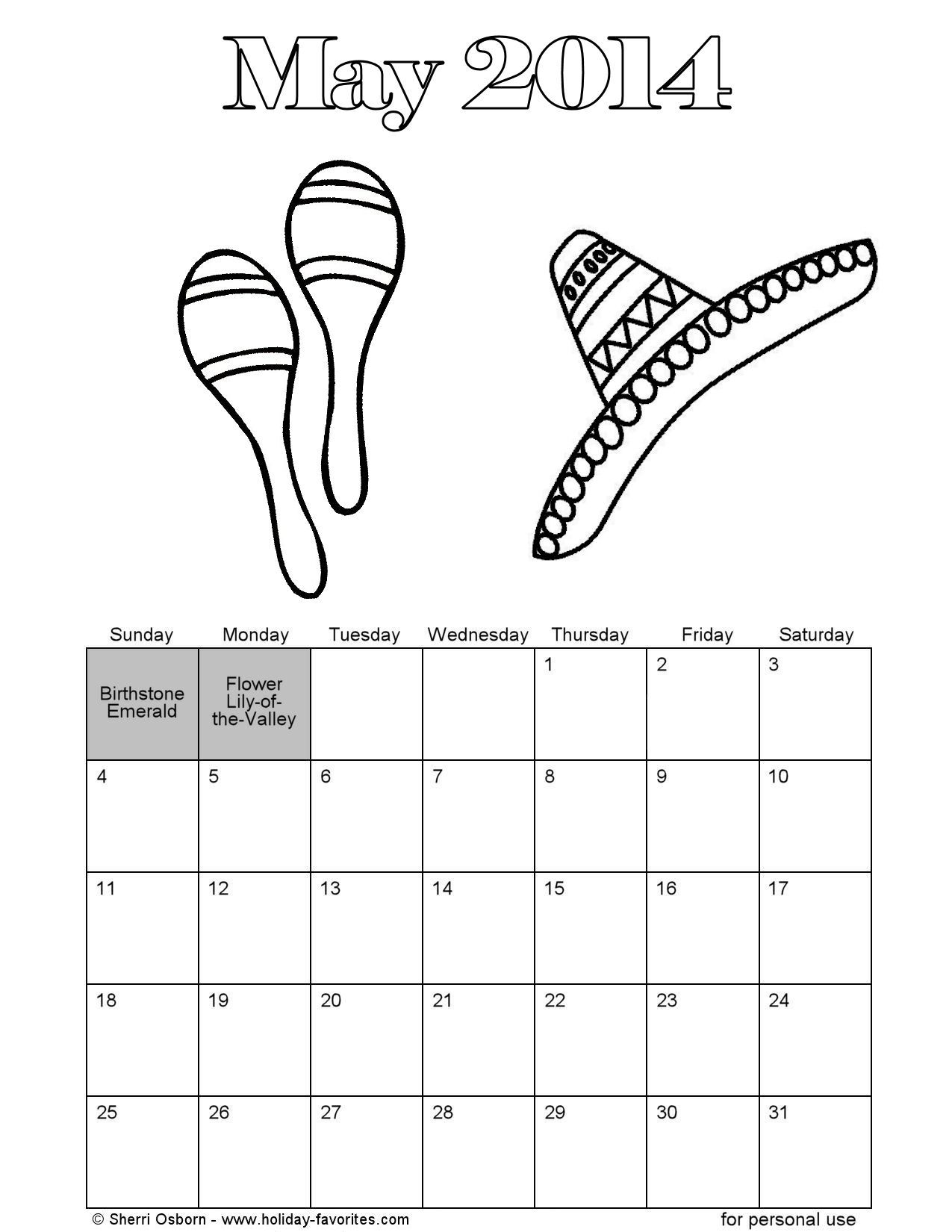Free printable coloring page calendar featuring a sombrero and ...